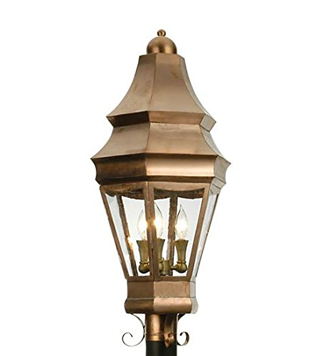 Meyda Tiffany Custom Lighting 21975 Statesboro 3-Light Post Mount, Natural Raw Copper with Clear Glass
