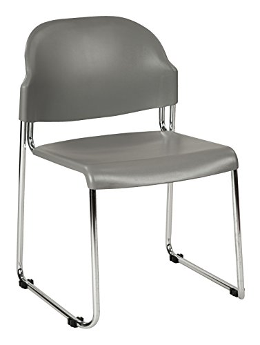 Office Star Plastic Seat and Back Stacking Chairs with Chrome Finish Steel Frame, 2-Pack, Grey