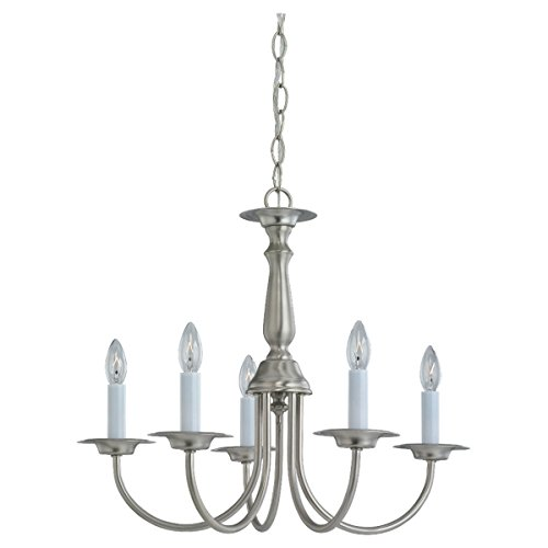 Sea Gull Lighting 3916-962 Traditional Five Light Chandelier, Brushed Nickel Finish