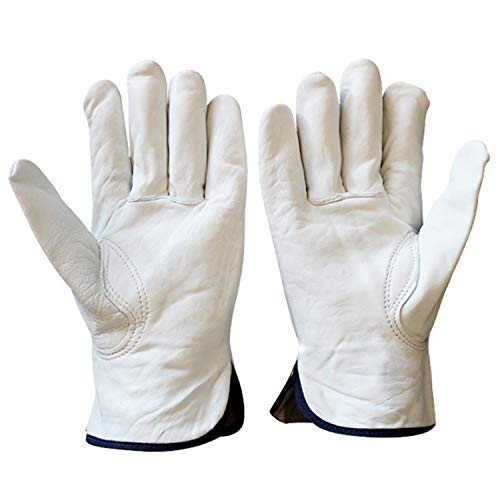 Yi-pinhu Driving Gloves Mens Sheepskin Leather Work Gloves, Drivers Gloves(2 Pair) Outdoor Sports (Color : White, Size : XL)