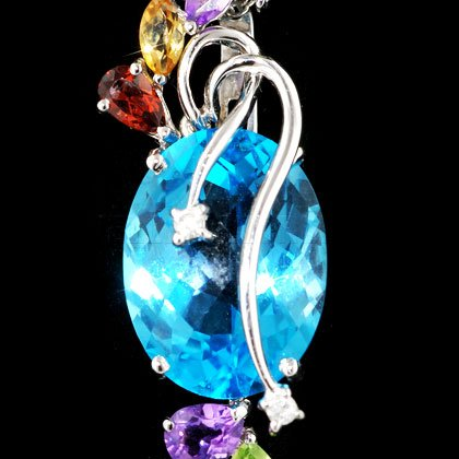 Topaze bleue, pierre & or blanc 18 ct avec pendentif ovale diamant