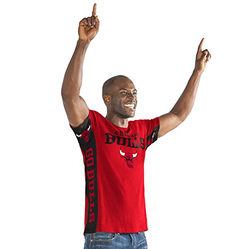 (Hands High NBA Chicago Bulls Adult Men Side bar Short sleeve Top, Large, Red)