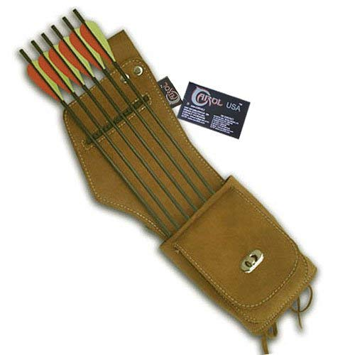 de/Hip/Belt/Waist Suede Leather Arrow Quiver AQ142 (R/H) Brown ()