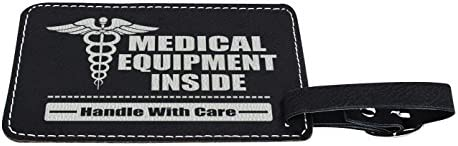 EMT Gifts Medical Equipment Handle with Care Laser Engraved Leather Luggage Tags