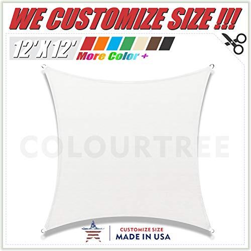 (ColourTree 12' x 12' White Square Sun Shade Sail Canopy – UV Resistant Heavy Duty Commercial Grade - We Make Custom Size)