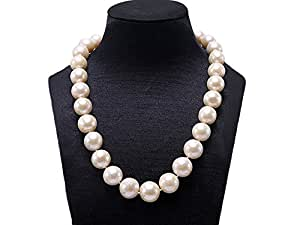 JYX Huge 13-16mm Round White Freshwater Pearl Necklace 18""