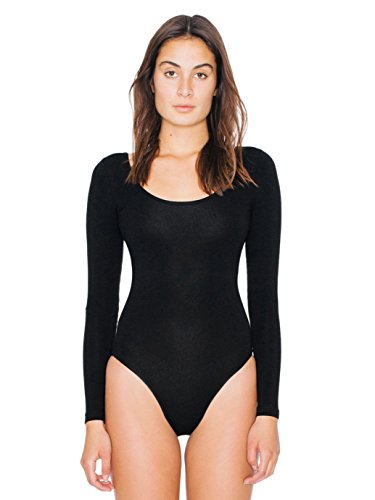 american-apparel-womens-cotton-spandex-long-sleeve-double-u-bodysuit-size-xs
