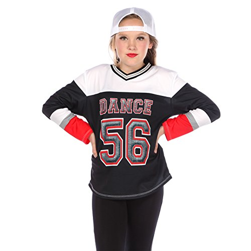 Gia-Mia Dance Big Girls' Epic Jersey Hip Hop Dance Costume Performance Team, Black, L - Hip Hop Dance Team Costumes For Girls