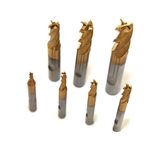 Set fresa di finitura HSS-TiN M2 3 / 4 / 5 / 6 / 8 / 10 / 12 mm futec