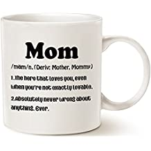 Christmas Gifts Mom Definition Funny Coffee Mug, Christmas or Birthday Gift Idea for Mom Porcelain Cup White, 14 Oz by LaTazas