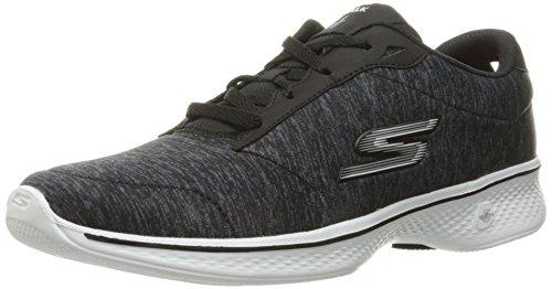 Skechers Go Walk 4, Zapatillas para Mujer Negro/Blanco Heather (Black/White Heather)