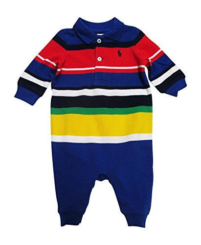 Ralph Lauren Baby Boys' Striped Cotton Mesh Coverall- Cruise Royal Multi (6 Months (Mesh Polo Coverall)