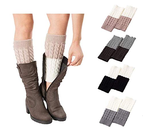Xugq66 4 Pack Women Winter Crochet Knitted Boot Cuffs Socks Short Leg Warmers (4 Pair-05) by Xugq66