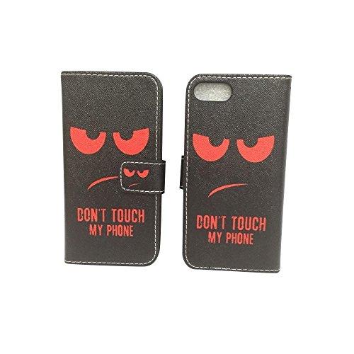 König-Shop Apple iPhone 7 Handy Hülle Tasche Case Cover Wallet Kunstleder Motiv Dont Touch My Phone Rot