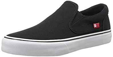 DC Trase Slip-On TX Skate Shoe, Black/White, 4 M US