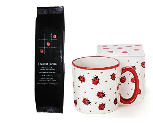 Ladybugs and Hearts Coffee Mug Cup with Coconut Cream Coffee Gift Set 2 Item Bundle