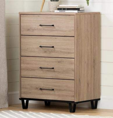 (Chester Drawers - Rustic Oak Wood Four Drawer Chest with Metal Legs - Practical Storage Organizer for Your)