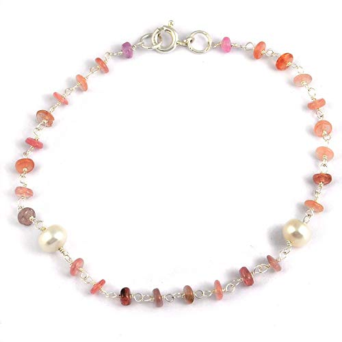 - Orchid Jewelry Multi Sapphire, Freshwater Pearl 925 Sterling Silver Beaded Bracelets