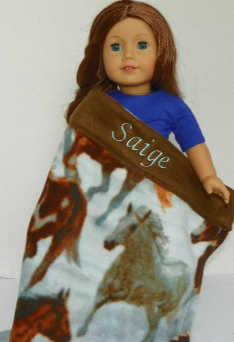 Horse Print Blanket Personalized for American Girl Doll