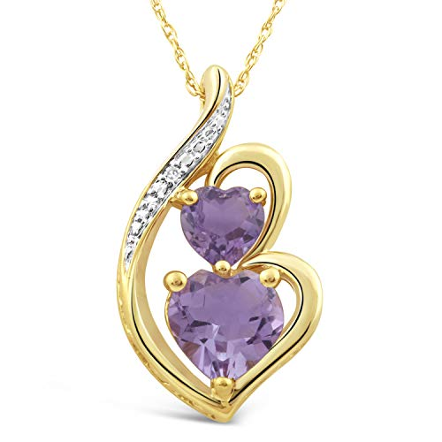 Yellow Gold Amethyst Necklace - Amethyst Necklace with Diamond Accent Heart Shape in 10k Yellow Gold