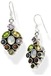 Garnet, Peridot, Amethyst, Citrine, Moonstone Genuine Gemstone Sterling Silver Earrings