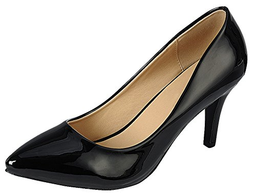 - Cambridge Select Women's Classic Closed Pointed Toe Slip-On Stiletto Mid Heel Pump,9 B(M) US,Black Patent PU
