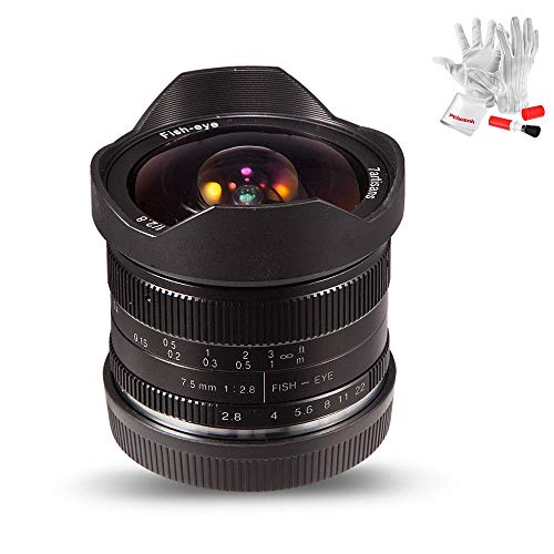 7artisans 7.5mm F2.8 APS-C Fisheye Fixed Lens for Sony Emount Cameras with Protective Lens Cap, Lens Hood and Carrying Bag- Black