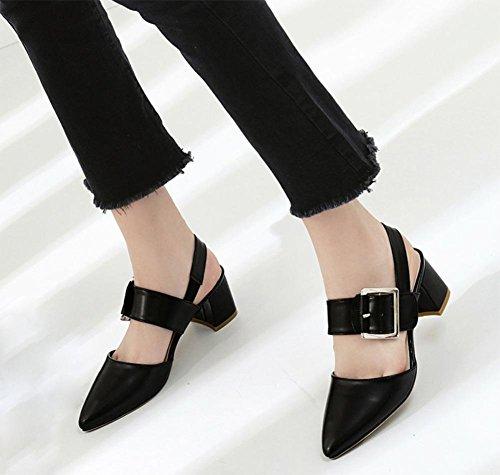 Gruesas Black Cinturón Sandalias Elásticas Con Bandas Verano En De Femeninas Hebilla Baotou 1f4p6fv