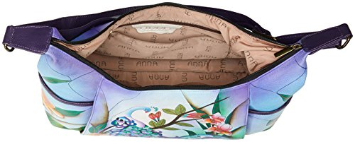 Shoulder Leather Hobo Hand Anuschka Large Painted Midnight Women'S Peacock Anna q5BUBt0nY