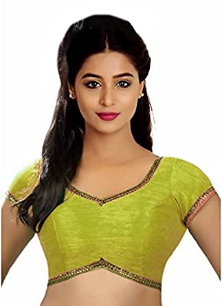 67f79147a3834a SINGAAR Rama Green Readymade Blouse - Party Wear - Golden Lace On Back Neck  -100