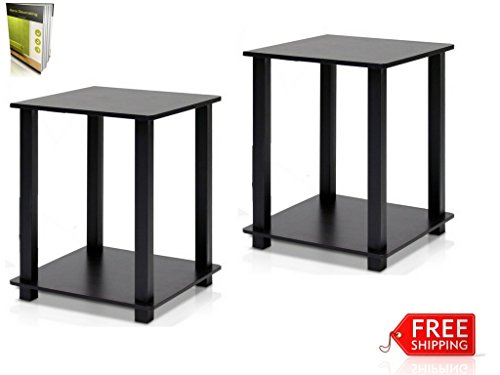 End Table Night Stand Set Of 2 For Modern Designed Spaces Home And Office Use Square Shape Easy To Assemble Small Size Fits Everywhere By TSR by TSR