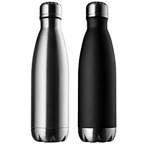 Modern Innovations Stainless Steel Portable Water Bottle Leak Proof, Double Walled, Vacuum Insulated & BPA Free - Keep Your Drink Hot & Cold Perfect for Camping, Picnic, Gym & Travel |17 Oz (Set of 2)
