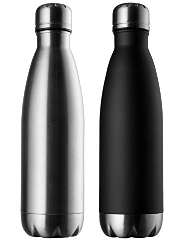 Modern Innovations Stainless Steel Water Bottles - 17 OZ Set of 2 made of BPA Free Leak Proof Insulated Design for Hot & Cold Drinks Perfect for Camping, Picnics, Gym