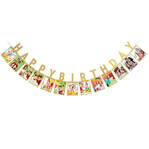 Birthday Banner Designs - New Design Happy Birthday Photo Banner – for Baby Shower Party,Birthday Party Photo Flag Banner Bunting Wall Hanging Decorative Accessories (Gold)