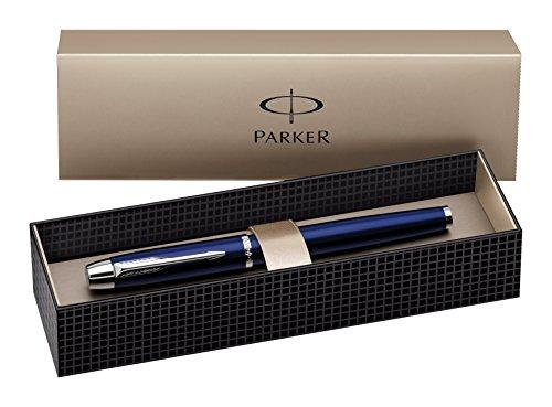 Parker S0856300 IM-Füllfederhalter (blau Lackiert mit Chromeinfassung, Strichstärke Mittel)
