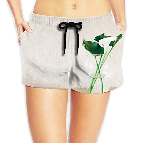 - ATSDES Green Plant On Clear Glass Vase Women's Stretch High Waist Beach Pants with Side Pockets for Beach Chairs Or Swimming