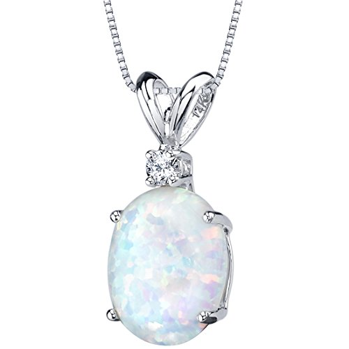14 Karat White Gold Oval Shape Created Opal Diamond Pendant