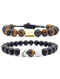 Men Women 8mm Natural Stone Beads Elastic Yoga Beaded Bangle Bracelet