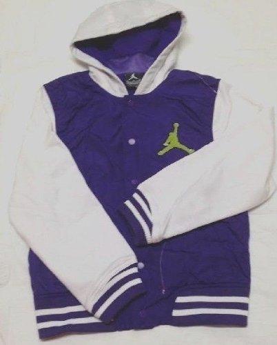 952a6284131fff Nike Jordan Boys  Varsity Hybrid Baseball Jacket PURPLE WHITE Sz M(10-12  Yrs)