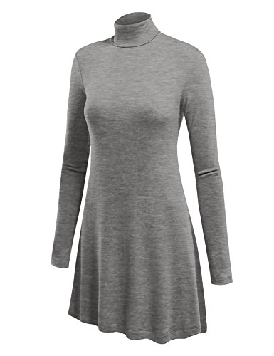 Lock and Love LL WT992 Womens Long Sleeve Turtleneck Sweater Tunic With Various Hem XXL Heather_Grey (Rayon Rib Turtleneck)