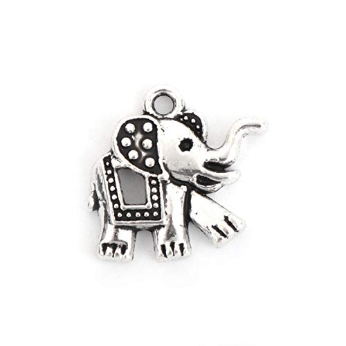 PEPPERLONELY 50pc Antiqued Silver Alloy Boho Chic Charms Elephant Ainmal Charms Pendants 18x17mm (6/8