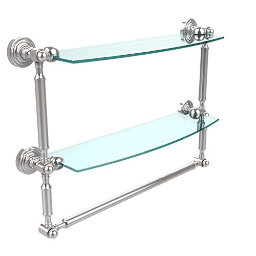 Allied Brass WP-34TB/18-PC Waverly Place Collection 18 Inch Two Tiered Glass Shelf with Integrated Towel Bar, Polished Chrome