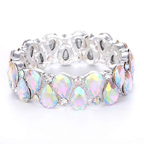 (Youfir Bridal Austrian Crystal Teardrop Knot Elastic Stretch Bracelet for Brides Wedding Party(B-Crystal AB))