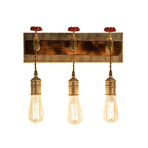 Vintage Art Deco Brass - KunMai Vintage Metal Water Pipe Edison Bulb Hanging Indoor Wall Light Sconce Fixture Retro Style (3-Light)