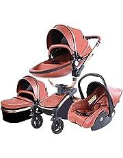 Standardvagnar Barnvagn 3-i-1 trehjuling baby Walker hög landskap barnvagn hopfällbar barnvagn babyvagn babyvagn för baby 0-36 (Brun)