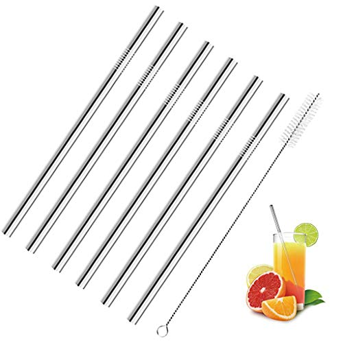 Reusable Stainless Steel Straws, Set of 6, 10.5 Straight Metal Drinking Straws 6mm Wide for 30oz 20oz Tumbler Yeti for Water, Cocktail, soda, Soft Drinks, Coffee-Cleaing Brush Included