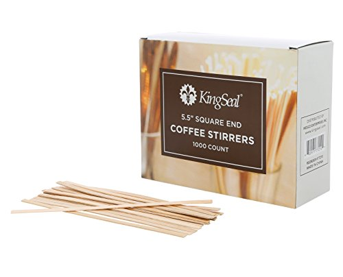 Wooden Stir Sticks - KingSeal Natural Birch Wood Coffee Stirrers, Stir Sticks, 5.5 Inch, Square End - 2 Packs of 1000 per Case