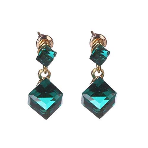 Botrong Ladies Fashion Square Crystal Gemstone Earrings Simple Gem Stud Earrings (Green)