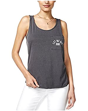 Guess Womens Printed Pocket Tank Top