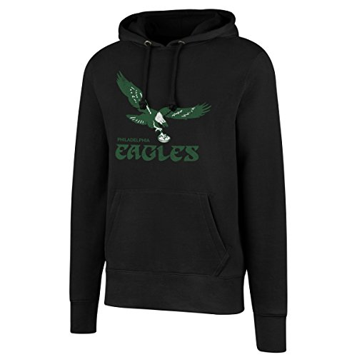 OTS NFL Philadelphia Eagles Men's Legacy Fleece Distressed Hoody, Small, Jet Black (Philadelphia Eagles Nfl Fleece)